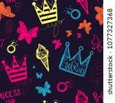 abstract seamless girlish... | Shutterstock .eps vector #1077327368
