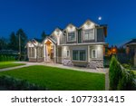 luxury house  home  at   night  ... | Shutterstock . vector #1077331415