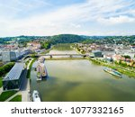 linz city centre and danube... | Shutterstock . vector #1077332165