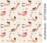 summer seamless pattern with... | Shutterstock .eps vector #1077334106