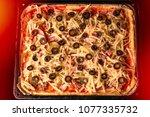 homemade rectangular pizza with ... | Shutterstock . vector #1077335732