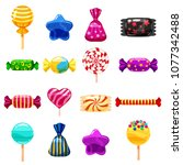 set single cartoon candies ... | Shutterstock .eps vector #1077342488