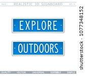 explore. outdoors. signboard in ... | Shutterstock .eps vector #1077348152
