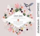 vector illustration a floral... | Shutterstock .eps vector #1077349532