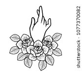 rose tattoo with hand.... | Shutterstock .eps vector #1077370082