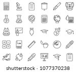 thin line icon set   calculator ... | Shutterstock .eps vector #1077370238