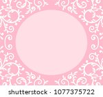 pink frame with curls | Shutterstock .eps vector #1077375722