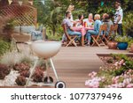 Wooden Patio In The Garden Wit...