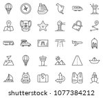 thin line icon set   paper ship ... | Shutterstock .eps vector #1077384212