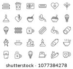 thin line icon set   coffee... | Shutterstock .eps vector #1077384278