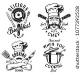 set of cooking emblem on white... | Shutterstock . vector #1077392528