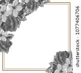 beautiful grey floral frame.... | Shutterstock .eps vector #1077406706