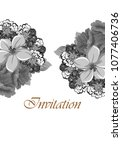beautiful grey floral frame.... | Shutterstock .eps vector #1077406736