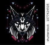 the cat sacred geometry | Shutterstock .eps vector #1077424535