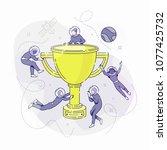 developers with big winner cup | Shutterstock .eps vector #1077425732