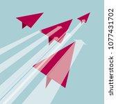 origami art  red airplane model.... | Shutterstock .eps vector #1077431702