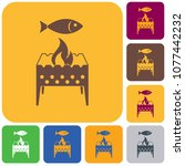 brazier grill with fish icon.... | Shutterstock .eps vector #1077442232
