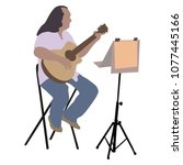 music man sitting on the chair... | Shutterstock .eps vector #1077445166