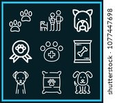 set of 9 dog outline icons such ... | Shutterstock .eps vector #1077447698
