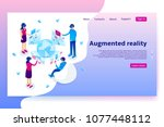 virtual augmented reality... | Shutterstock .eps vector #1077448112