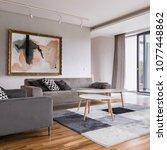 square frame of modern living... | Shutterstock . vector #1077448862