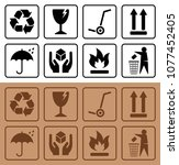 packaging symbols and cardboard ... | Shutterstock .eps vector #1077452405