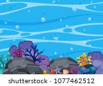 beatiful coral and underwater... | Shutterstock .eps vector #1077462512