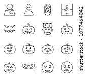flat vector icon set   support... | Shutterstock .eps vector #1077464042