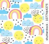 seamless sun  rainbows and...   Shutterstock .eps vector #1077464375