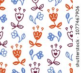 seamless pattern with stylized... | Shutterstock .eps vector #1077467906