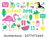 summer 2018 colorful vector... | Shutterstock .eps vector #1077471665