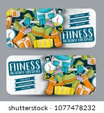 fitness and healthy lifestyle.... | Shutterstock .eps vector #1077478232
