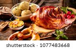 traditional german cuisine ... | Shutterstock . vector #1077483668