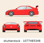 sport red car three angle set.... | Shutterstock .eps vector #1077485348