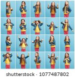 the collage of different human...   Shutterstock . vector #1077487802