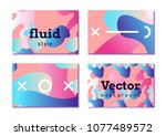 fluid. set of colorful abstract ... | Shutterstock .eps vector #1077489572