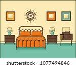 bedroom interior. hotel room in ...   Shutterstock .eps vector #1077494846
