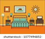 bedroom interior. hotel room...   Shutterstock .eps vector #1077494852