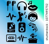 vector icon set about music... | Shutterstock .eps vector #1077495752