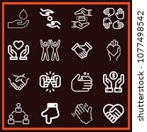 set of 16 hands outline icons... | Shutterstock .eps vector #1077498542