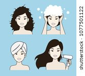 the procedure for hair care for ... | Shutterstock .eps vector #1077501122