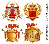 royal coat of arms. king and... | Shutterstock .eps vector #1077503336