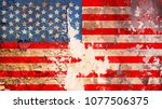 grungy american flag on...   Shutterstock . vector #1077506375