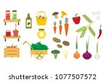 flat vector set of organic food ... | Shutterstock .eps vector #1077507572