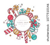 candy shop round frame... | Shutterstock .eps vector #1077510146