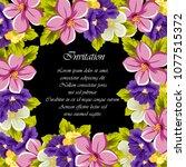 beautiful floral frame on black ... | Shutterstock .eps vector #1077515372