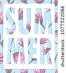 summer word over floral... | Shutterstock .eps vector #1077522086