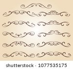 calligraphic elegant elements... | Shutterstock .eps vector #1077535175