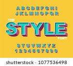 3d bold retro alphabet font.... | Shutterstock .eps vector #1077536498
