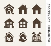 home filled vector icon set on... | Shutterstock .eps vector #1077537032